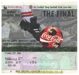 1997 lc final LEICESTER CITY 1 MIDDLESBROUGH 1