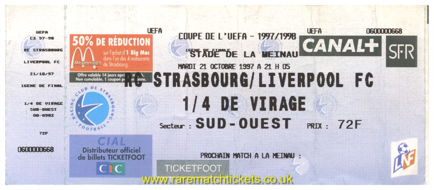 1997-98 uefa r2 1st RC STRASBOURG 3 LIVERPOOL 0 (unused)