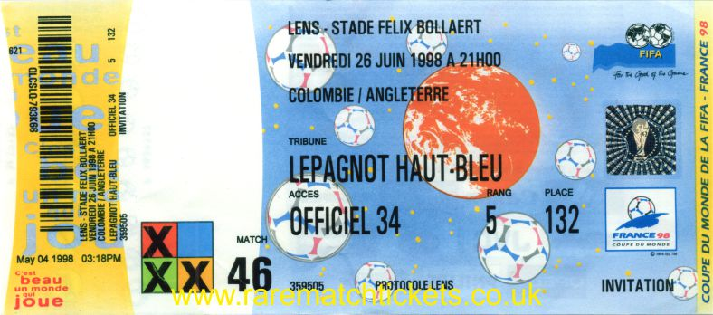 1998 wc grG m3 ENGLAND 2 COLOMBIA 0 (unused)