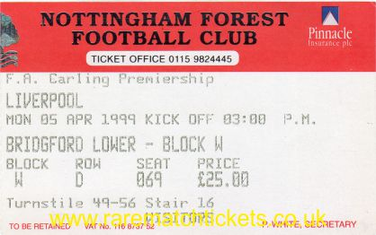 1998-99 EPL NOTTINGHAM FOREST 2 LIVERPOOL 2