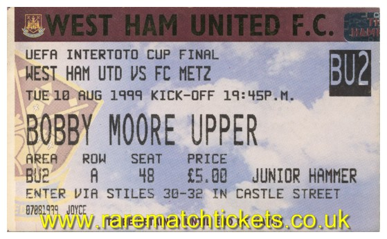 1999 it final 1st WEST HAM UTD 0 METZ 0