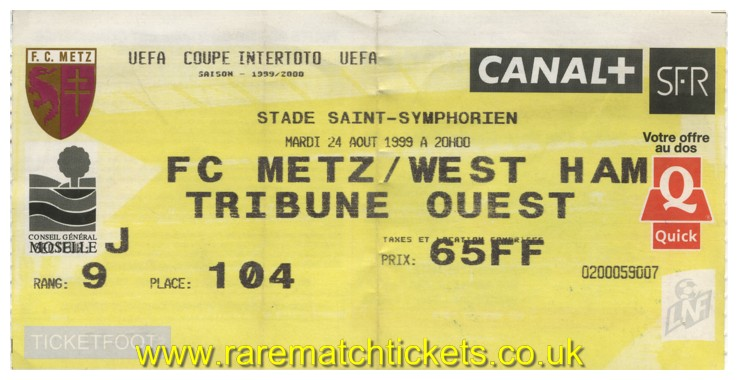 1999 it final 2nd METZ 1 WEST HAM UTD 3