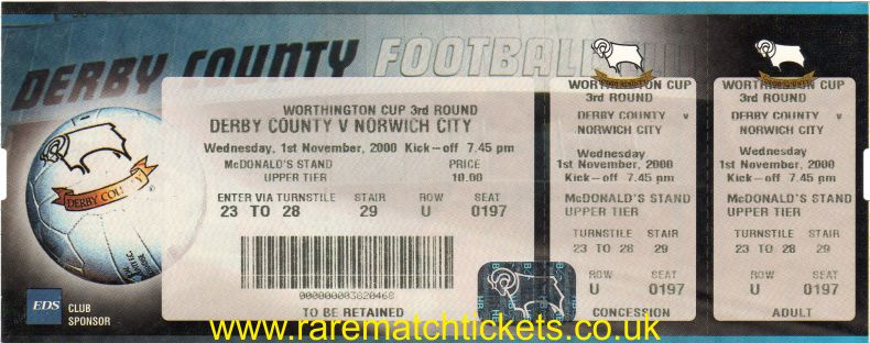 2000-01 LC R3 DERBY COUNTY 3 NORWICH CITY 0 (unused)