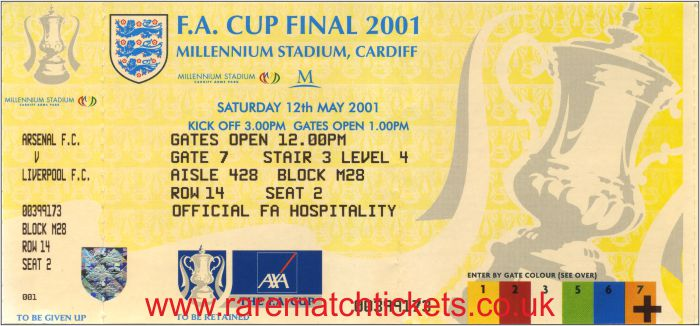 2001 fac final LIVERPOOL 2 ARSENAL 1 (unused)