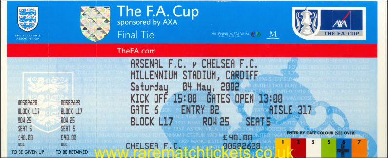 2002 fac final ARSENAL 2 (CHELSEA) 0 (unused)