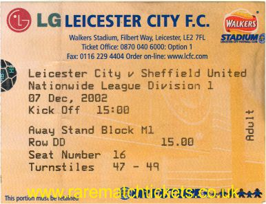 2002-03 DIV1 LEICESTER CITY 0 SHEFFIELD UTD 0