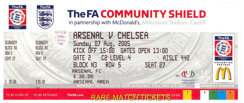 2005 cs CHELSEA 2 (ARSENAL) 1 (unused)