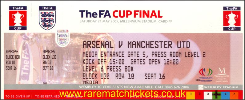 2005 fac final ARSENAL 0 MANCHESTER UTD 0 (unused)