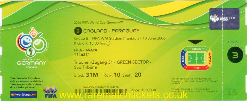 2006 wc grB m1 ENGLAND 1 PARAGUAY 0 (unused)