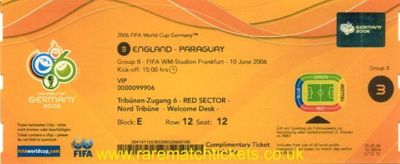 2006 wc grB m1 ENGLAND 1 PARAGUAY 0 (unused) [vip]