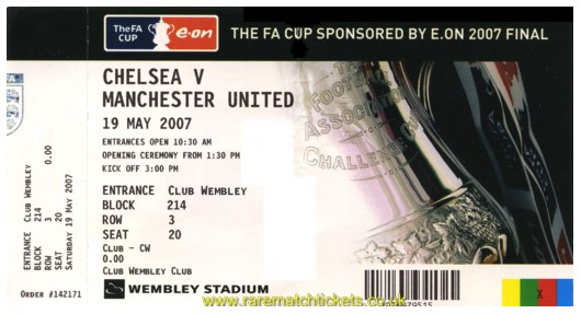 2007 fac final CHELSEA 1 MANCHESTER UTD 0 (unused)