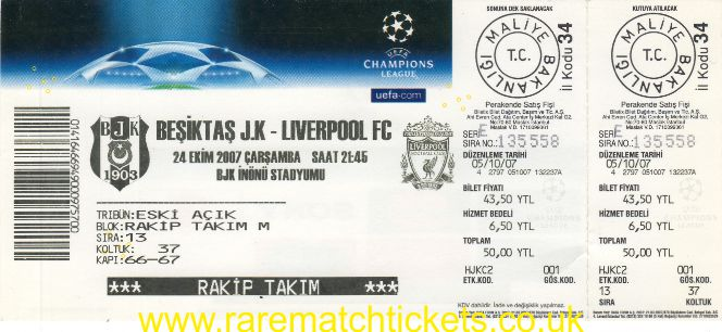 2007-08 cl grA m3 BESIKTAS 2 LIVERPOOL 1 (unused)