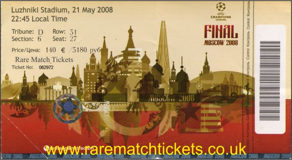 2008 cl final MANCHESTER UTD 1 CHELSEA 1 (unused) PERSONALISED