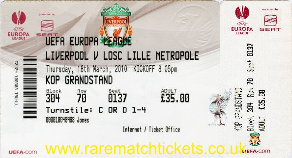 2009-10 el r16 2nd LIVERPOOL 3 LILLE 0 (unused) [kop]