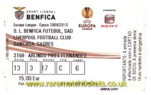 2009-10 el qf1 BENFICA 2 LIVERPOOL 1 (credit card)