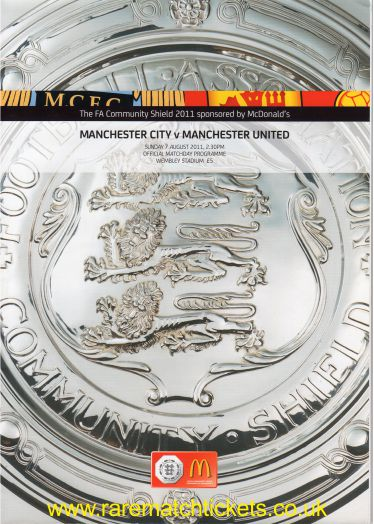 2011 charity shield MANCHESTER UTD 3 MANCHESTER CITY 2