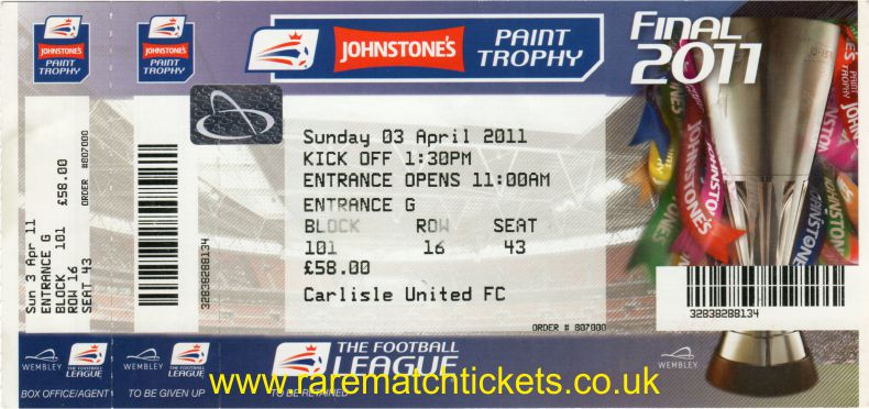 2011 flt [jpt] final [CARLISLE UTD] 1 BRENTFORD 0 (unused)