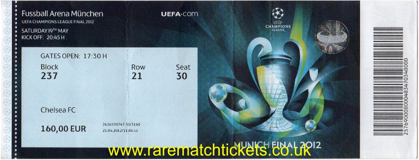 2012 cl final CHELSEA 1 BAYERN MUNICH 1 (unused)