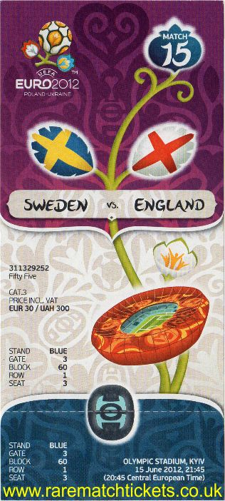 2012 ec grD m2 ENGLAND 3 SWEDEN 2 (unused)
