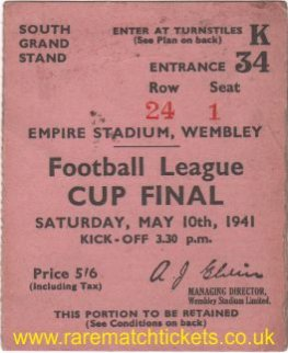 1941 fl cup final PRESTON NORTH END 1 ARSENAL 1