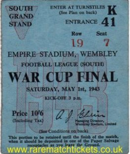1943 fl south cup final ARSENAL 7 CHARLTON 1