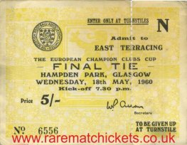 1960 ec final REAL MADRID 7 EINTRACHT FRANKFURT 3 (unused)