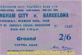 1960 fairs cup final 1st BIRMINGHAM CITY 0 BARCELONA 0