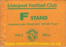 1963-64 div1 champions LIVERPOOL season ticket front cover