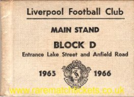 1965-66 div1 champions LIVERPOOL season ticket front cover