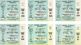 1966 wc ENGLAND 6 unused ticket set