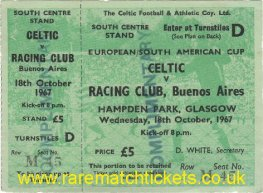 1967 ic final 1st CELTIC 1 RACING CLUB 0 (unused)