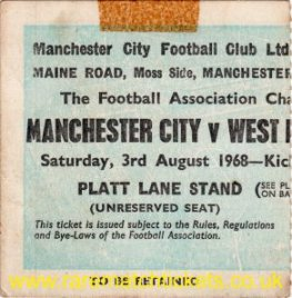 1968 cs MANCHESTER CITY 6 WEST BROMWICH ALBION 1