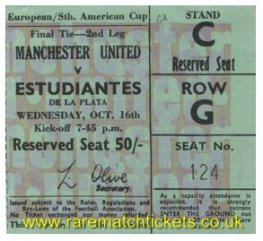 1968 ic final 2nd MANCHESTER UTD 1 ESTUDIANTES 1