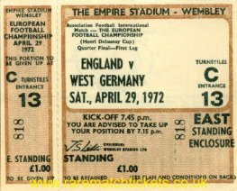 1972 ec qf 1st ENGLAND 1 W GERMANY 3 (unused)