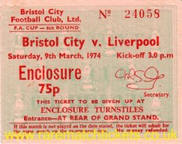 1973-74 fac6 BRISTOL CITY 0 LIVERPOOL 1