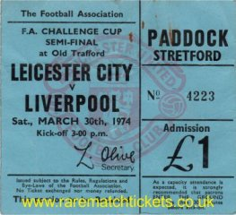 1973-74 fac sf LIVERPOOL 0 LEICESTER CITY 0