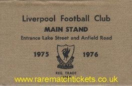 1975-76 div1 champions LIVERPOOL season ticket front cover