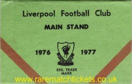 1976-77 div1 champions LIVERPOOL season ticket front cover