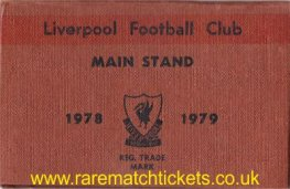 1978-79 div1 champions LIVERPOOL season ticket front cover