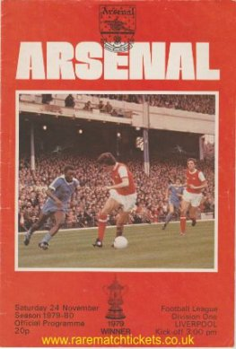 1979-80 div1 m16 ARSENAL 0 LIVERPOOL 0