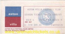 1980-81 div1 champions ASTON VILLA season ticket front cover