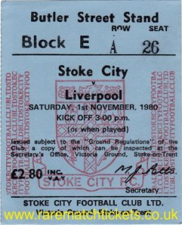 1980-81 div1 STOKE CITY 2 LIVERPOOL 2