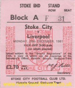 1981-82 div1 m27 STOKE CITY 1 LIVERPOOL 5