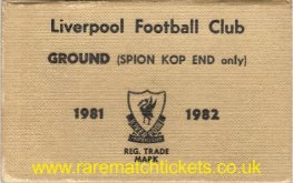 1981-82 div1 champions LIVERPOOL season ticket front cover