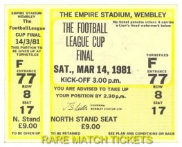 1981 lc final LIVERPOOL 1 WEST HAM UTD 1 (unused)
