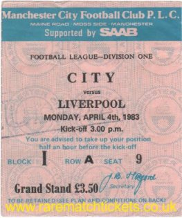1982-83 div1 m34 MANCHESTER CITY 0 LIVERPOOL 4