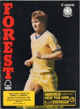1983-84 div1 m21 NOTTINGHAM FOREST 0 LIVERPOOL 1