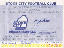 1983-84 div1 m35 STOKE CITY 2 LIVERPOOL 0 [se]