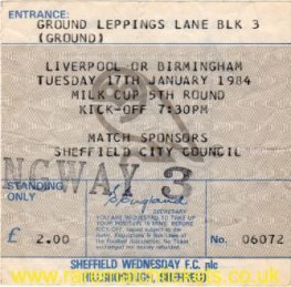 1983-84 lc5 SHEFFIELD WEDNESDAY 2 LIVERPOOL 2