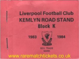 1983-84 div1 champions LIVERPOOL season ticket front cover